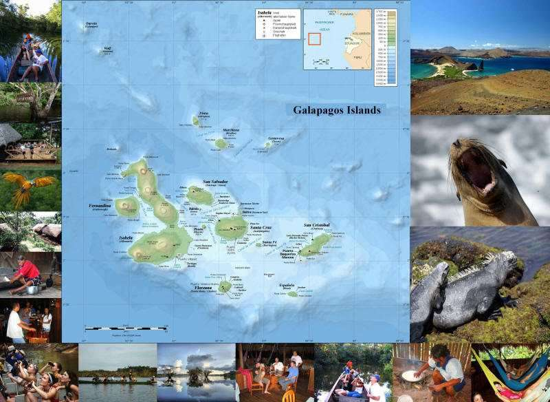 GALAPAGOS CRUISE [LATE DEALS GALAPAGOS TOURS]: GALAPAGOS NATIONAL PARK MAP WITH MOST COMMON ROUTES Great discounts for combined bookings Galapagos + Cuyabeno